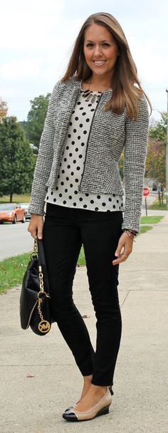 Mint cardigan, polka dot top, black cropped trousers