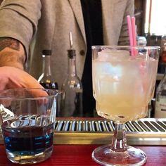 """New cocktail fun. Table side pour. Imperial Purple. Tequila """"Azul"""", white vermouth, pineapple. Damn good. Here all day. 12-11pm. Happy Hour 3-5pm. . . . #philly2night #phillycocktail"""