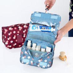 Poliéster mulheres senhoras bolsa de cosméticos maquiagem organizador necessaire de viagem sacos pequenos do sexo feminino lavagem higiênico bolsa para adolescentes meninas