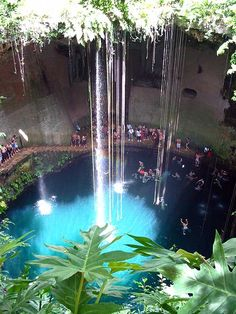 Cenote Ik Kil, near Chichen Itza, Mexico.  Swam in this just before walking around Chichen Itza (Aug'08)