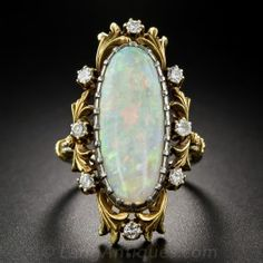 Art Nouveau Opal and Diamond Ring