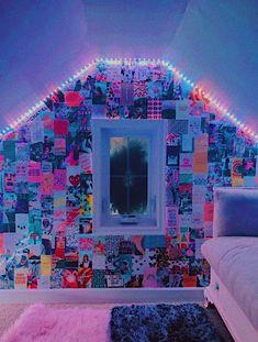 Chill Room, Cozy Room, Cute Room Decor, Teen Room Decor, Room Ideas Bedroom, Bedroom Decor, Bedroom Inspo, Indie Room, Neon Room