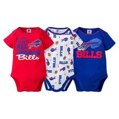 Baby Buffalo Bills 3-Pack Bodysuits, Infant Unisex, Size: 0-3 Months, Blue