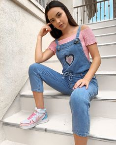 I may be stairing, but overall, I'm stepping things up. Merrill Twins, Veronica Merrell, Veronica And Vanessa, Vanessa Merrell, Teen Photography, Celebrity Crush, Chic Outfits, Overalls, Instagram