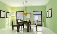 Here is a contemporary/modern dining experience with a new age, edgy green from Prestige Paints.