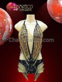 CHARISMATICO Hot Gold and Black Beaded fringe Showgirl's Sexy Dance Leotard