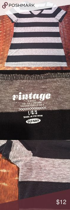 LG Old Navy Vintage V-Neck Tee This Large Vintage tee from Old Navy is in good condition. There is some pilling visible on tee, refer to pics for details. This top has been one of my favorites, and is great alone or layered. Comes from a smoke free/feline friendly home. Any questions, just ask. Always open to reasonable offers. Old Navy Tops Tees - Short Sleeve