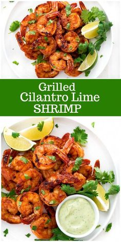 This easy recipe for Grilled Cilantro Lime Shrimp is served with a fresh avocado dip. This is the perfect recipe for summer grilling! Lime Shrimp Recipes, Chili Lime Shrimp, Cilantro Lime Shrimp, Grilled Shrimp Recipes, Seafood Recipes, Mexican Food Recipes, Dinner Recipes, Cilantro Recipes, Lime Recipes