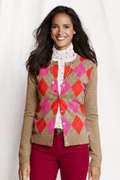 Women's Long Sleeve Cashmere Argyle Cardigan from Lands' End  Love this sweater but good grief...200 bucks??