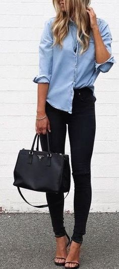 Street style   Chambray shirt, black skinnies and tote bag - latest shirts for mens, navy mens shirt, cool button down shirts for guys *ad