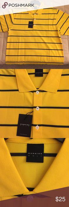 DUNNING GOLF SHIRT Yellow golf shirt with navy blue stripes. Dunning Golf Shirts Polos