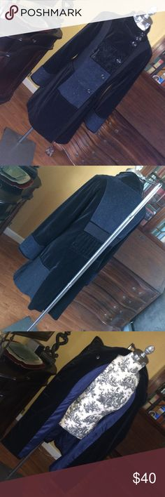 "Beautiful Black quilt coat  soft/cozy Beautiful Black quilt coat. Measures: length 35"", sleeves 25"", chest 17"".  Seven bottom encloses. Material: 100% cotton. Promod Jackets & Coats"