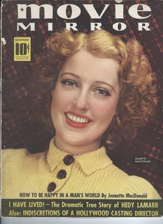 Jeanette MacDonald on the cover of MOVIE MIRROR, November 1938 - Escano Collection