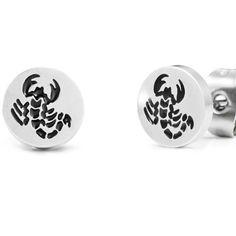 Black Scorpio Silver Stainless Steel Mens Stud Earrings 8mm | RnBJewellery