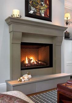 Cast Stone Fireplace, Stone Fireplace Surround, Classic Fireplace, Paint Fireplace, Concrete Fireplace, Traditional Fireplace, Farmhouse Fireplace, Fireplace Hearth, Home Fireplace