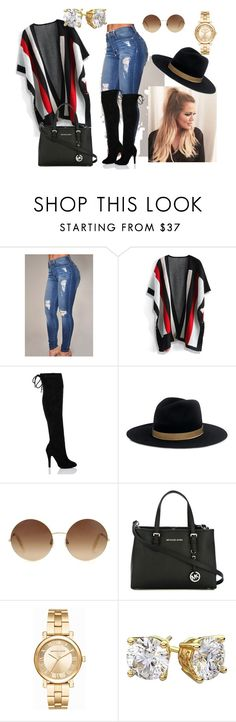 """""""Fall Stripes"""" by kaileevillan on Polyvore featuring Chicwish, Janessa Leone, Victoria Beckham, MICHAEL Michael Kors, Michael Kors, stripes and polyvorefashion"""