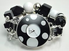 Double stranded polka dot black & white interchangeable beaded watch - watch face included