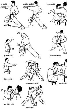 Kombinationen von Fauststössen,Shotokan Karate-Do. Kyokushin Karate, Shotokan Karate, Goju Ryu Karate, Martial Arts Techniques, Martial Arts Styles, Mixed Martial Arts, Art Martial, Karate Do, Karate Moves