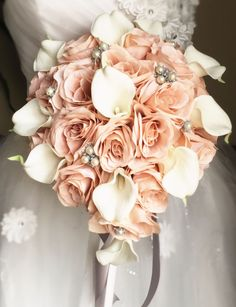 Cascade Bouquet-Blush Nude Rose and Natural White calla lily with Silver accents                                                                                                                                                                                 More