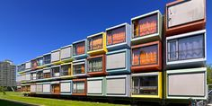 15 coolest student residences in the world - Spacebox Container Architecture, Container Buildings, Utrecht, Modular Housing, Capsule Hotel, Casas Containers, Student House, Container House Plans, Prefabricated Houses
