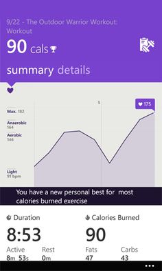 Workout stats screen in Microsoft Band app