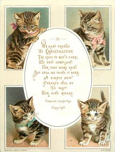 four rectangular views of cats with oval centre for greeting - TuckDB Ephemera Cat Christmas Cards, Noel Christmas, Victorian Christmas, Vintage Christmas Cards, Vintage Holiday, Christmas Pictures, Christmas Mantles, Vintage Ornaments, Vintage Santas