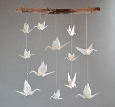 origami mobile kranich wei transparent klein chambres b b chambre b b fille et b b. Black Bedroom Furniture Sets. Home Design Ideas
