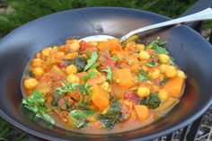 Sweet Potato Curry With Spinach and Chickpeas. Vegan and gluten-free. .this is something I'm eager to try..