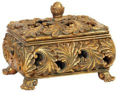 Sterling Home 87-2636 Textured Leaf Footed Keeping Box, 7-1/2-Inch Long by 6-1/4-Inch Tall by Sterling Home. $42.94. Box is 7.5-inches long x 5.5-inches wide x 6.25-inches tall. Box sits on flourished feet; decorative lid has a ball handle. Ornate Box is a grand decorative accessory as well as a great place to keep keys or other small items. Rich texturing gives this Box a regal appearance. Made of composite materials with an antiqued golden bronze finish. Keeping B...