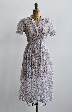 vintage 1940s purple prints sheer shirt dress [Voix d'Interieur Dress] - $148.00 : Vintage & Vintage Inspired Clothing, Adored Vintage, Portland Oregon