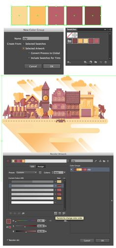 How to create a flat cityscape in Adobe Illustrat . - How to create a flat cityscape in Adobe Illustrator – Amara Hanieka – - Web Design, Game Design, Graphic Design Tutorials, Tool Design, Graphic Design Inspiration, Design Process, Vector Design, Design Trends, Design Ideas