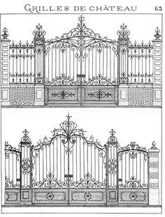The bottom gate! Metal Gates, Wrought Iron Gates, Classic Architecture, Architecture Drawings, Iron Gate Design, La Forge, Front Gates, Grill Design, Iron Art