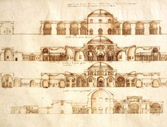 Andrea Palladio, 'The Baths of Caracalla: Conjectural reconstruction of facades and sections, with annotations', 1540s. RIBA Library Drawings and Archives Collections.