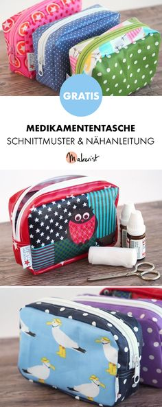 Free instructions for a small medication pouch with .- Free instructions for a small medication pouch with oilcloth for storing tablets, plasters, globules etc. or for other small items – free sewing patterns and sewing instructions via Makerist. Easy Sewing Projects, Sewing Projects For Beginners, Sewing Hacks, Sewing Tutorials, Sewing Tips, Fabric Bins, Fabric Scraps, Sewing Patterns Free, Free Sewing