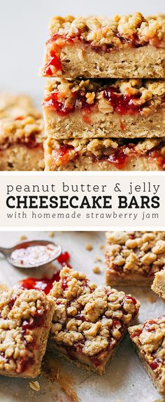 These peanut butter and jelly bars have a base layer of peanut butter shortbread stacked with peanut butter cheesecake, homemade strawberry jam, and a peanut butter oat crumble. They're a fun twist on a childhood classic! Chocolate Peanut Butter Squares, Peanut Butter Oatmeal Bars, Healthy Peanut Butter, Healthy Food, Peanut Butter Recipes, Fudge Recipes, Cheesecake Recipes, Jelly Cheesecake, Basic Cheesecake