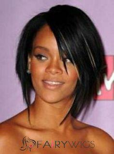 Best Short Black Female Rihanna Straight Celebrity Hairstyle 10 Inch