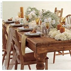 rustic wooden tables eliminate the need for excess fabric! Rustic Table, Wooden Tables, A Table, Dining Table, Farm Tables, Fine Dining, Bamboo Containers, Wood Bowls, White Wood