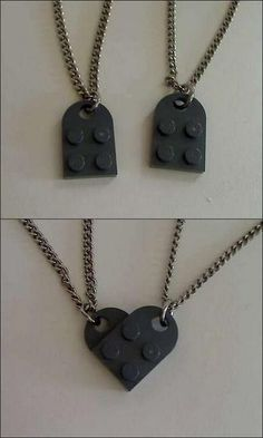 Lego necklaces that form a heart! This would be so cute.  For my baby and her love.