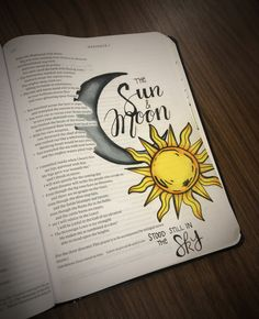 "Habakkuk 3:11 ""The sun and moon stood still in the sky as your brilliant arrows flew and your glittering spear flashed."" Bible Journaling - Bible Page Ideas & Tips"