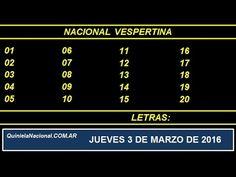 Quiniela Nacional Vespertina Jueves 3 de Marzo de 2016. Fuente: http://quinielanacional.com.ar Pizarra del sorteo desarrollado en el recinto de Loteria Nacional a las 17:30 horas.