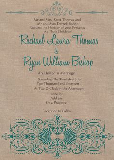Items similar to Digital File - Rustic Chic Wedding invite Teal on Etsy William Bishop, Chic Wedding, Wedding Stuff, Wedding Ideas, Laura Thomas, Flag Banners, Rustic Chic, Vows, Creative Design