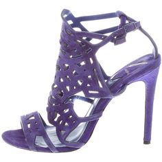 Pre-owned B Brian Atwood Suede Laser Cut Sandals (7.195 RUB) ❤ liked on Polyvore featuring shoes, sandals, purple, laser cut sandals, suede sandals, purple shoes, suede leather shoes and purple suede shoes