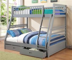 Grey Twin over Full Bunk Bed with Drawers www.ekidsrooms.com