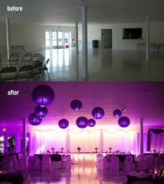 Before & After Using DIY Uplighting - View more Wedding, Bar/Bat Mitzvah & Event Lighting Ideas - mazelmoments.com