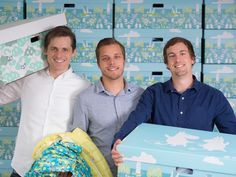 The Finnish baby box trio (from the left): Heikki Tiittanen, Anton Danielsen and Anssi Okkonen have altogether eight children. When they started their venture, Tiittanen managed the company's affairs on paternity leave when his son was taking a nap.
