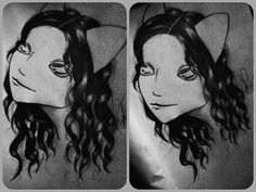 First curly hair drawing :$ :P