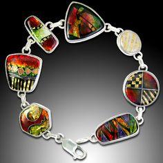 Enameled Silver Bracelet by Ricky Frank