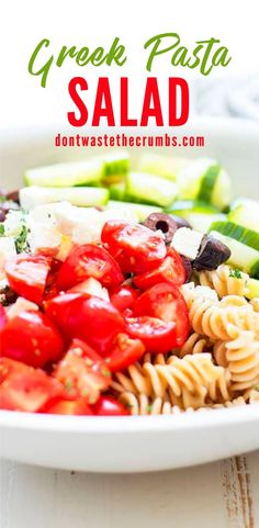 Simple and delicious Greek pasta salad with homemade Greek salad dressing. The perfect dish to bring to a pot luck, picnic or when you don't want to spend all day cooking. A flavorful Greek Pasta Salad Recipe made with simple pantry staples! Click through for the full recipe and step by step instructions! #greekpastasalad #pastasalad #salad Allergy Free Recipes, Vegetarian Recipes Easy, Lunch Recipes, Vegetable Recipes, Healthy Dinner Recipes, Real Food Recipes, Salad Recipes, Healthy Snacks, Greek Salad Pasta