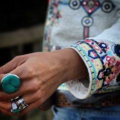 D E T A I L S @mytenida #cropped #blazer #fashion #turquoise #jewelry…
