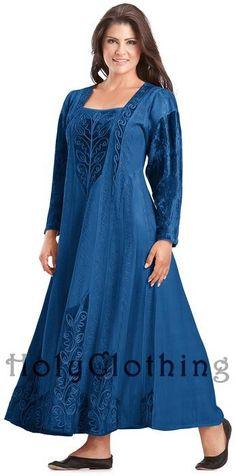 Sapphire Blue Morgana Medieval Velvet Satin & Lace Tudor Princess Dress Gown  #holyclothing